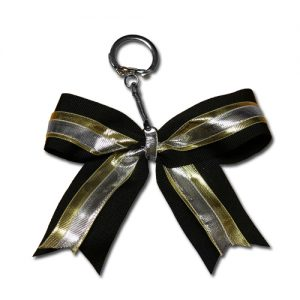 Silver, Gold and Black Hair Bow Keychain